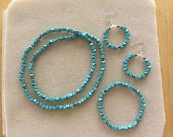 Aqua Small Cube Beads Necklace Set, 3 Pc.
