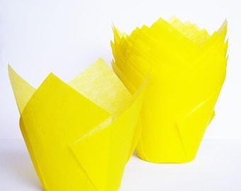24 Yellow Tulip Cupcake Liners