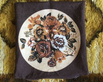 Set of 4 Vintage Cushion Covers- Brown Floral Design