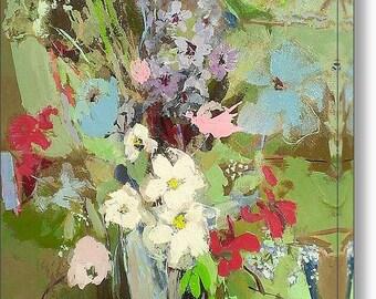 August Bouquet - 12 x 18 Fine Art Canvas Print, Flowers, Summer, Garden, Wall Art, Home Decor, Gift