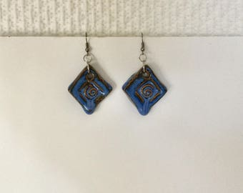 Natural Clay Blue Pendant Drop Earrings