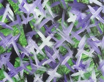Violet, vert, noir et blanc acrylique peinture abstraite sur toile «série 7 je «Home Decor Wall Art