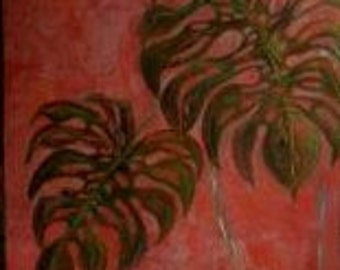 decorative foliage and Red Panel