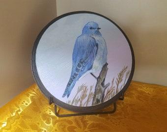 MOUNTAIN BLUE BIRD, Custom Painting ,Home Decor