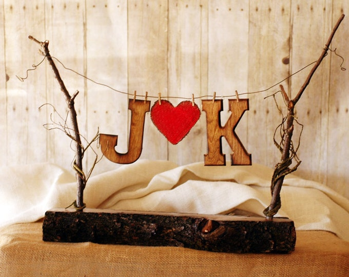 Rustic Wedding Party Banner Personalized with your Initials and a rustic burlap heart
