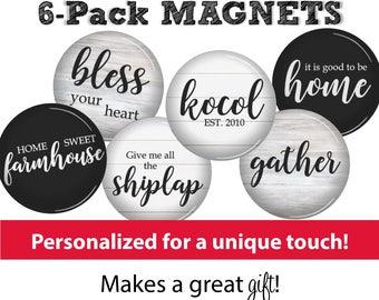 Farmhouse Magnets • SET OF 6 • Farmhouse Kitchen • Shiplap • Fixer Upper Style • Housewarming Gift