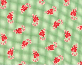 Swell Christmas by Urban Chiks for Moda, #31124-14, Candy Canes Green, Vintage Christmas, Christmas Fabric, Christmas in July, IN STOCK