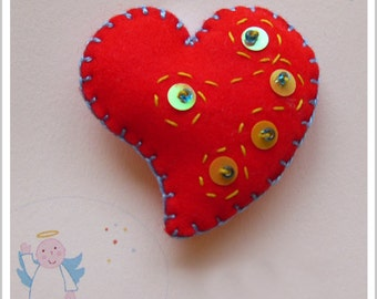 Be my Valentine! Red Heart Brooch.
