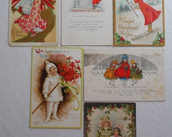 Vintage Christmas Postcards lot of 6 Women and Girls