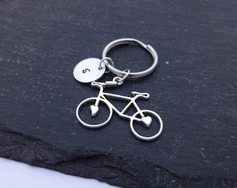 Initial Bicycle Keyring, Hand Stamped Keyring, Bike Keyring, Cyclist Gift, Charm Keyring, Personalised Keyring, Bicycle Keychain