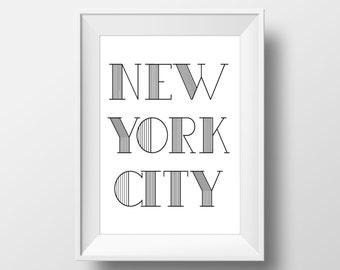 New York City Typography Black & White Print, New York City Printable Art, New York City Print, New York City Art, New York City,