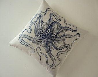 Vintage octopus silk screened cotton canvas throw pillow 18 inch navy