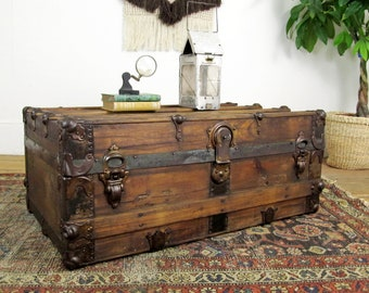 trunk coffee table,wooden trunk,storage trunk,vintage trunk,steamer trunk,travel trunk,farmhouse antiques,storage chest,rustic decor