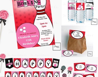 Bowling-Pink-Birthday-Printable Party Set-DIY Printable-Instant Download-Editable Files-Banner-Labels-Tags-Toppers-Sign