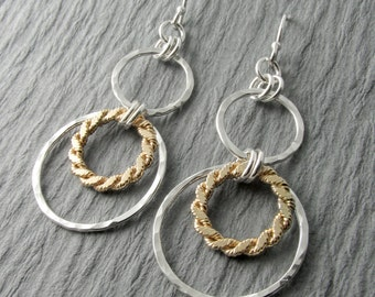 Silver Dangle Earrings Gold Silver Earrings Hammered Circle Earrings Mixed Metal Earrings Circle Earrings Gift For Her Holiday Gift