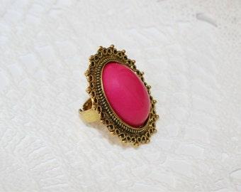 Vintage Style Art Deco Ring, Boho Ring, Pink Ring, Gold tone Ring