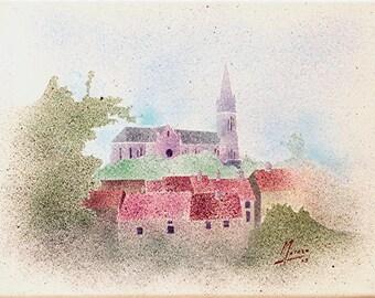 """Acrylic on canvas - """"Los-log church in Haute-Marne (52)"""" - France."""