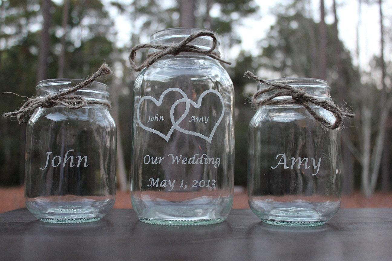 3 piece personalized engraved mason jar sand ceremony set zoom reviewsmspy