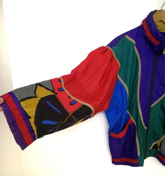80s Multicolors Jacket Vintage Nylon Light OfvavnqZS