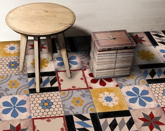 Tile Decals - Tiles for Kitchen/Bathroom Back splash - Floor decals - Hand Painted Moroccan Mix Tile Sticker 48 Sticker Pack