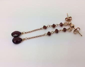 Garnet earrings, silver plated rose gold