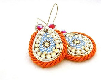 statement long boho drop beaded earrings , orange blue rhinestone jewelry , bronze hoop chandelier earring gift , tangerine bride present