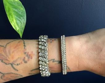 Rhinestones & Silver Costume Jewelry Stretch Accordian Style Cuff Bracelet Made In Japan 1950s