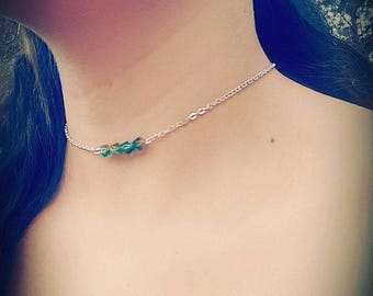 Silver adjustable Choker Necklace with green beads