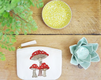 Toadstool Coin Purse, Change Purse, Coin Pouch, Zip Pouch, Canvas Purse, Organic Purse, Small Zipper Pouch, Toadstool Gift, Fly Agaric