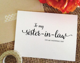 To my Sister-in-law Card Sister in law gift sister in law wedding gift Wedding Card Thank you Card for Sister of the Groom gift (Lovely)