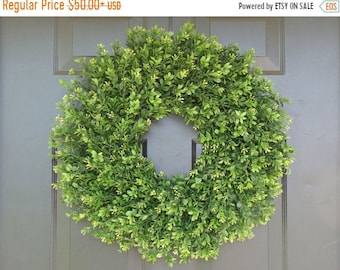 SPRING WREATH SALE Faux Thin Artificial Boxwood Wreath, Storm Door Wreaths, Front Door Outdoor Wreath,  Ready to Ship, Door Decor, Sizes 14-