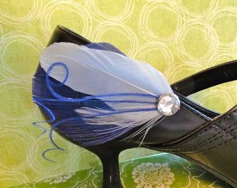 ATHENA Royal Blue Peacock Feather Shoe Clips