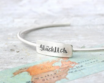 open bangle bracelet  with desired word from 925 silver bangle, personalized, hand-stamped with name