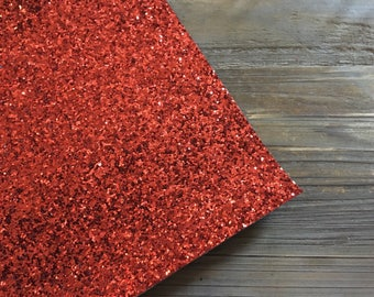 Glitter Material Chunky Sparkle Red 8X10 sheet