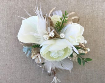 Corsage,Wedding corsage,Wrist corsage,Feather corsage,Gatsby Wedding,Mothers corsage,Champagne corsage,Gold corsage,Prom corsage,Pin corsage