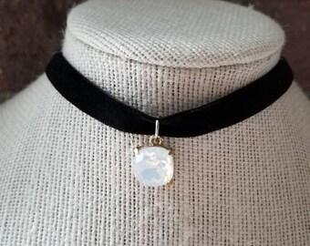 Black Velvet Choker with White/Opal Pendant