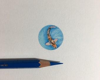 Miniature Koi Fish Original Framed Drawing