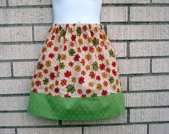 Red and Green Fall leaves Skirt, girls skirt, 6M to size 10