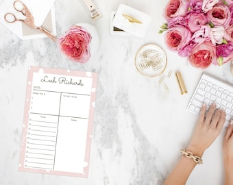 Personalized Pink Daily Planner Notepad
