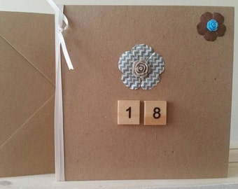 18th Birthday Card for Friend, Niece, Daughter, Sister, Cousin - Modern Handmade Card with Blue Flower