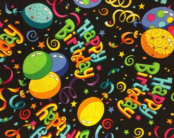 Happy Birthday Fabric Cotton By The Yard 36 Inches Long