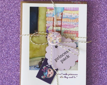 PRINCESS PACK set of 10 faerie tale feet princess greeting cards blank princess stationary with fairy tale quotes
