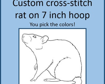 Rat Cross Stitch Custom Made - Rat Design 1