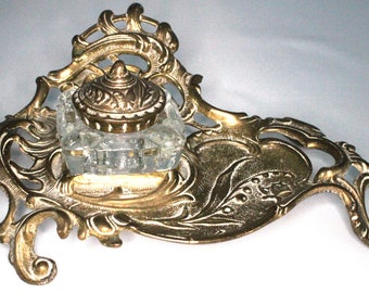 Art Nouveau Brass and Glass Inkwell