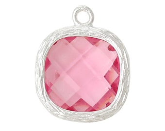 x 1 pendant 13 mm Pink Rhinestone faceted and prong setting silver.