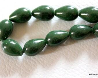 Green Briolette Teardrop Glass Beads 12mm