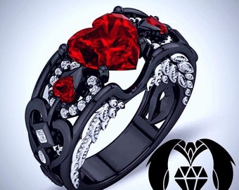 Cupid's Red Heart Black Gold Engagement Ring