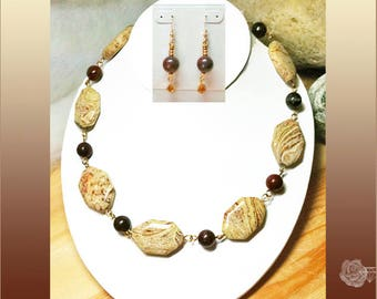 "21"" Necklace Tan Geometric Paintbrush Jasper Dark Brown Round Obsidian Gold Chain Necklace Matching Earrings with 14K Gold-Filled Ear Wires"