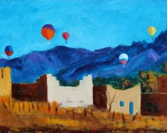 Original Oil Painting Taos Balloon Festival New Mexico Adobe Artwork Southwest Landscape South Western Art Decor Western Purple Mountains