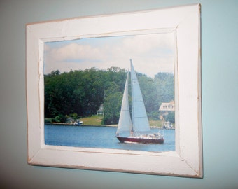 Framed Beach Photo Framed Photography Sailboat Photo Recycled Wood Frame